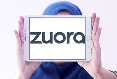 Zuora software company logo. Logo of Zuora company on samsung tablet holded by arab muslim woman. Zuora is an enterprise software company that designs and sells Royalty Free Stock Images