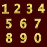 Zupełny set złota 3D liczby z siatki ulgą Krawędzie liczby no zaokrąglają Chrzcielnica odizolowywa zmrokiem - czerwoni półdupki Obraz Stock