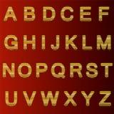 Zupełny set złota 3D listy ciie w prostych paski Krawędzie listy zaokrąglają Chrzcielnica odizolowywa zmrokiem - czerwień Obrazy Stock