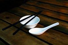 zupni chińscy pucharów chopsticks Zdjęcie Royalty Free