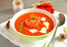 Zupny puree piec czerwonego dzwonkowego pieprzu, soczewicy i bani, Obrazy Stock
