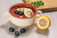 Zupny saltwort z mięsem, grule, pomidory, cytryna, czarne oliwki Fotografia Royalty Free