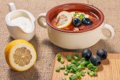 Zupny saltwort z mięsem, grule, pomidory, cytryna, czarne oliwki Obrazy Royalty Free