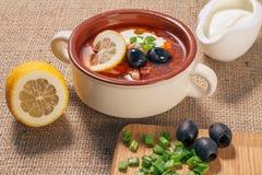 Zupny saltwort z mięsem, grule, pomidory, cytryna, czarne oliwki Zdjęcie Stock