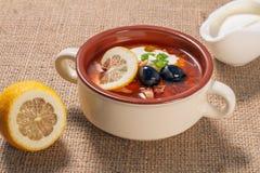 Zupny saltwort z mięsem, grule, pomidory, cytryna, czarne oliwki Zdjęcia Stock