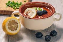 Zupny saltwort z mięsem, grule, pomidory, cytryna, czarne oliwki Zdjęcie Royalty Free