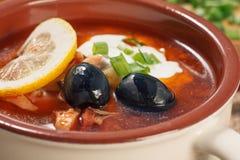 Zupny saltwort z mięsem, grule, pomidory, cytryna, czarne oliwki Fotografia Stock
