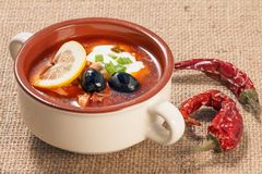 Zupny saltwort z mięsem, grule, pomidory, cytryna, czarne oliwki Obraz Royalty Free