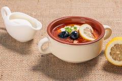Zupny saltwort z mięsem, grule, pomidory, cytryna, czarne oliwki Obrazy Stock