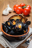 Zuppa di cozze - Impepata di Cozze - mussel soup Royalty Free Stock Images