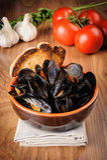 Zuppa di cozze - Impepata di Cozze - mussel soup Royalty Free Stock Image