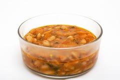 Zuppa di fagioli in ciotola di vetro Fotografie Stock Libere da Diritti