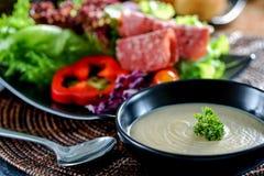 Zuppa di fungo con insalata immagine stock libera da diritti