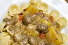 Zuppa di fungo fredda dell'insalata di pasta, bacon della patata Immagini Stock