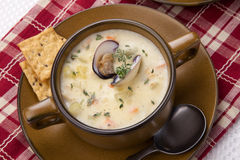 Zuppa di molluschi e latte fotografia stock
