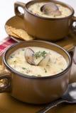 Zuppa di molluschi e latte immagine stock