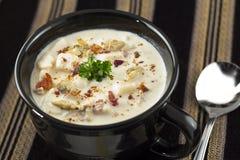 Zuppa di molluschi e latte della Nuova Inghilterra Fotografia Stock Libera da Diritti