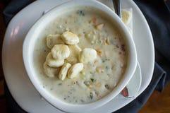 Zuppa di molluschi e latte della Nuova Inghilterra Fotografie Stock Libere da Diritti