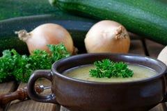 Zuppa di zucchine casalinga fresca con le cipolle ed il prezzemolo Fotografia Stock Libera da Diritti
