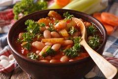 Zuppa ed ingredienti di fagioli macro sulla tavola orizzontale fotografia stock
