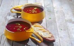Zuppe di barbabietola sulle ciotole e sul pane con la diffusione Immagini Stock Libere da Diritti