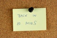 Zurück in 10 Minuten Lizenzfreie Stockfotografie