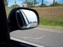 Zurück schauen, während ich fahre stockfotografie