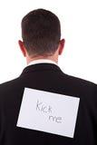 Zurück vom Geschäftsmann, mit Stoß ich geschrieben in Papier Lizenzfreie Stockfotografie