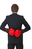 Zurück vom Geschäftsmann mit Verpackenhandschuhen stockbild