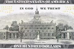 Zurück vom neuen U S 100 Dollarschein Lizenzfreies Stockfoto