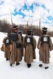 Zurück von den Soldaten an der historischen Rekonstruktion Lizenzfreies Stockbild
