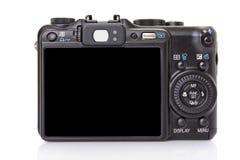 Zurück von der schwarzen digitalen kompakten Kamera Lizenzfreie Stockbilder
