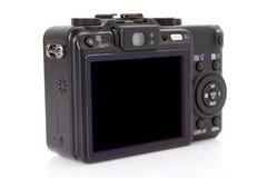 Zurück von der schwarzen digitalen kompakten Kamera Stockbild