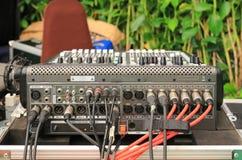 Zurück von DJ-Satz, vom Audio und von der Videolinie Input/Output stockbild