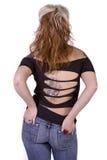 Zurück von einem Mädchen in den Jeans Stockbilder