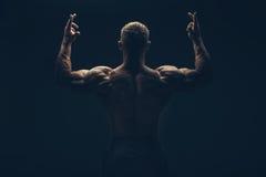 Zurück von einem muskulösen Mann nackt, Atelieraufnahme Lizenzfreie Stockbilder