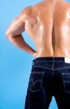 zurück von einem sehr muskulösen Mann Stockbild