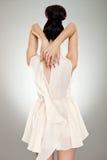 Zurück von einer glamor Frau im Kleid lizenzfreie stockbilder