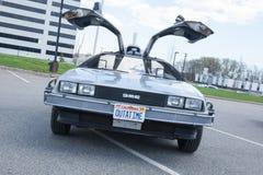 Zurück zu dem zukünftigen Auto Stockfoto