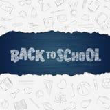 Zurück zu den Schulbedarfgekritzeln eingestellt mit Beschriftung stock abbildung