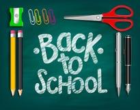 Zurück zu den Schultitel-Wörtern geschrieben mit realistischen Schuleinzelteilen lizenzfreie abbildung