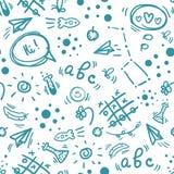 Zurück zu der gezeichneten Schulhand kritzeln Sie nahtloses Muster Lizenzfreies Stockbild