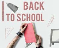 Zurück zu der Schule, die Ikonenkonzept lernt Stockbilder