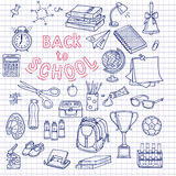 Zurück zu flüchtigen Notizbuchgekritzeln des Schulbedarfs mit Beschriftung lizenzfreie abbildung