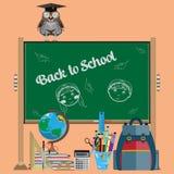 Zurück zu flacher Illustration des Schulvektors lizenzfreie abbildung