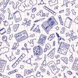 Zurück zu nahtlosem Muster des Schulgekritzels Blaue Ballpen-Zeichnung auf roter Linie Papier lizenzfreie abbildung