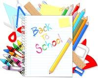 Zurück zu Schulbedarfeinzelteilen Lizenzfreies Stockfoto