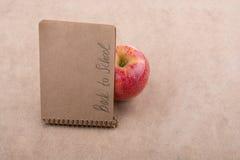 Zurück zu Schulbeschriftung mit einem Notizbuch Stockfotografie