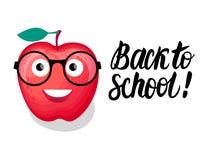 Zurück zu Schulbeschriftung und -illustration Vector Charakter rotes Apple mit den Gläsern, die auf weißem Hintergrund lokalisier Vektor Abbildung