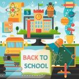 Zurück zu Schulbildungsfahne mit Buch-, Bus-, Lampen- und Bildungsikonen Flache Illustration des Vektors Schulbildung Stockbilder